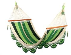 This hammock has conquered its niche in the international market because of its grace, style and incredible comfort. All hammocks are hand made by Nicaraguan artisans using a double weave technique and have a beautiful crocheted edge. 100% soft cotton, plantation hardwood spreader bars and cast alloy rings all add to the pure luxury of this hammock.     Support weight up to 400kg!!  W=105cm L=465cm weight of hammock=4.3kg  optimum hanging length is 4 metres (from cast alloy ring to ring)