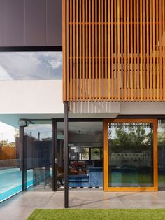 Image 9 of 11 from gallery of Hope Street Geelong West / Steve Domoney Architecture. Photograph by Derek Swalwell Timber Screens, Timber Slats, Timber Windows, Screen Design, Facade Design, Architecture Design, House Design, Design Design, Residential Architecture