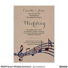 KRAFT Rustic Wedding Invitation Music Theme