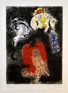 Marc Chagall: Original Lithographs for The Story of Exodus (1966) Moses and the Tablets of the Law