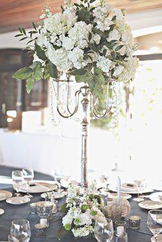 White Blue Green wedding flower centerpiece in a candelabra  In Full Bloom by MJL