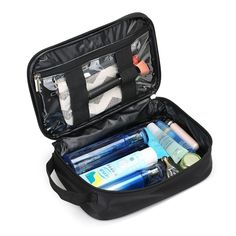 Hotrose Waterproof Cloth Toiletry Bag Travel Organizer Portable Wash Bag with Handle - Black *** You can get additional details at the image link.