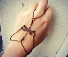 dragonfly slave bracelet with turquoise beads by alapopjewelry, $26.00