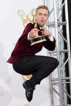 Yup. HAS AN EMMY.   Derek Hough Has An Emmy, Amy Poehler Still Does Not