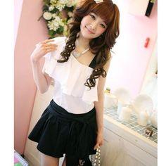 Korean Style Cute Pure Color Pleated Skirt Black