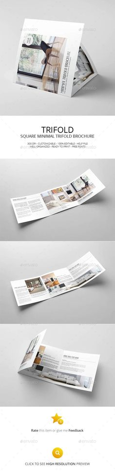 Square Minimal Trifold Brochure Template PSD #design Download: http://graphicriver.net/item/square-minimal-trifold-brochure/13545823?ref=ksioks
