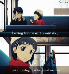 You know, that\'s me, be cause I do love my cousin, way to much, and I have cried over it too, just like her.   Anime:Sword art online