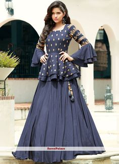 Blue Silk Plain Designer Lehenga Choli with Layered Sleeved Peplum Blouse - - Blue Silk Plain Designer Lehenga Choli with Layered Sleeved Peplum Blouse Source by sareecom_india Gown Party Wear, Party Wear Indian Dresses, Designer Party Wear Dresses, Indian Gowns Dresses, Indian Fashion Dresses, Party Wear Lehenga, Dress Indian Style, Indian Designer Outfits, Designer Gowns