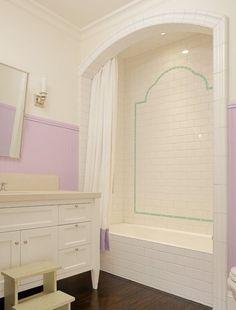 Suzie: Abbott Moon - Fun lilac and turquoise blue bathroom with white single bathroom vanity, ...