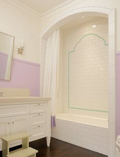 Suzie: Abbott Moon - Fun lilac and turquoise blue bathroom with white single bathroom vanity, ...