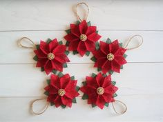 Rustic Burlap Poinsettia Flower Christmas Ornaments Christmas Tree Ornaments Christmas Tree Decor Burlap Poinsettia Flowers Ornaments  SET of 5  Have yourself a beautifully rustic holidays with handcrafted burlap poinsettia ornaments. Decorate your tree, walls, or doors with these burlap poinsettia flowers.  Each ornament is completely handcrafted from start to finish. Multiple pieces of red and dark green burlap fabric are cut by hand and carefully placed to create the perfect poinsettia…