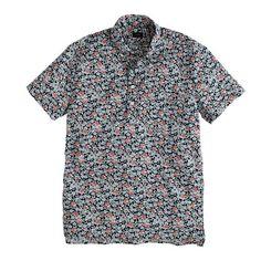 J.Crew - Secret Wash short-sleeve popover shirt in coastline navy floral