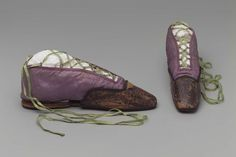Shoes with Toe Protectors: ca. 1810-1830, French, silk, cotton lining, silk ribbon, silk woven tape and leather.