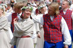 Estonian traditional dress and folk festival.