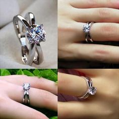 Platinum Plated .925 Silver RD Sim Diamond Solitaire Criss-Cross Engagement Ring #br925 #CrissCross
