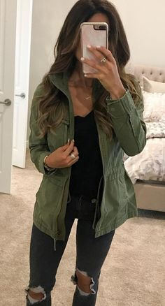 #fall #outfits women's green jacket