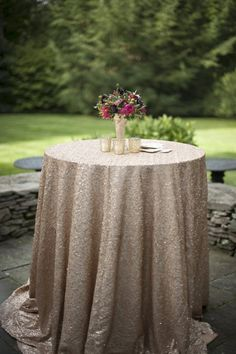 Blush Sequin Tablecloth Rose Gold by CandyCrushEvents on Etsy