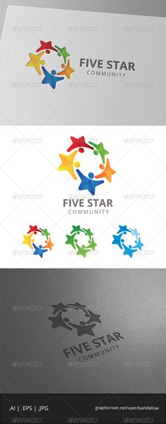 JPG Image Five Star Community Logo  Template • Only available here ➝ http://graphicriver.net/item/five-star-community-logo/8056460?ref=pxcr