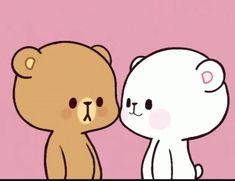 Cute Bear Drawings, Cute Cartoon Drawings, Cartoon Gifs, Cute Cartoon Pictures, Cute Love Pictures, Cute Love Cartoons, Gif Lindos, Memes Lindos, Cute Kiss