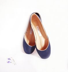 leather ballet flats. antique navy blue. from the white ribbon on etsy
