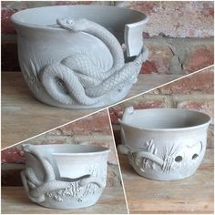 Snake design yarn Bowl in unfired white earthenware. Special commission. The snake is based on a Corn Snake and will have orange and brown stripes and the bowl in green and blues. Email earthwoolfire@ymail.com for order details.