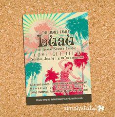 Vintage Chic Luau - custom summer party invitation, invite for Hawaiian, Tropical shindig - DIY printable file, print service available on Etsy, $17.00