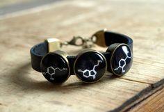 Dopamine Serotonin Adrenaline leather bracelet by ShoShanaArt