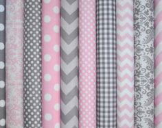 Popular items for pink gray fabric on Etsy