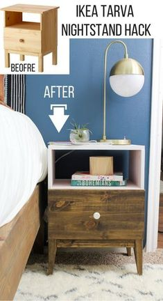 Check out what she did to this IKEA TARVA nightstand! This is seriously so cool, I almost didn't recognize that it was the TARVA. You have got to see the tutorial on how she did this! Amazing! Ikea Furniture Hacks, Furniture Making, Simple Furniture, Furniture Makeover, Furniture Ideas, Tarva Ikea, Diy Nightstand, Nightstands, Ikea Bohemian