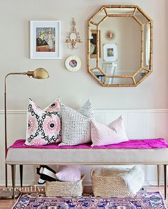 furbish-pillows-entry-bamboo-mirror-gold-lamp by jamie meares, via Flickr