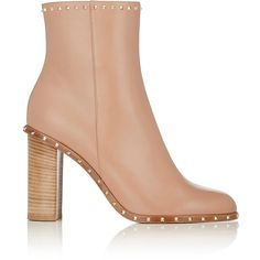 Valentino Women's Rockstud Leather Ankle Boots (21.455 ARS) ❤ liked on Polyvore featuring shoes, boots, ankle booties, ankle boots, tan, short leather boots, high heel ankle boots, tan leather booties, leather sole boots and short boots