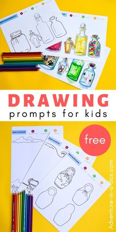 Don't know what to draw? Try one of our free printable drawing prompts for kids, a fun exercise in creativity! Creative Activities For Kids, Creative Arts And Crafts, Creative Kids, Art Activities, Cognitive Activities, Writing Prompts For Kids, Art Prompts, Kids Writing, Drawing For Kids
