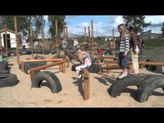 Jungle playground - ropes, balance, tires, tubes - neat video of watching kids play on the simple equiptment