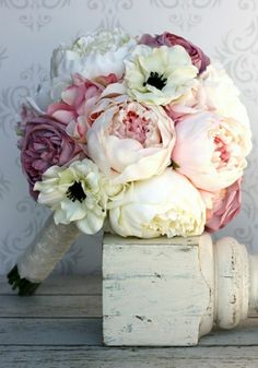 Items similar to Silk Bride Bouquet Peony Flowers Pink Cream Purple Shabby Chic Wedding Decor (Item on Etsy Peony Bouquet Wedding, Bride Bouquets, Wedding Flowers, Flower Bouquets, Peonies Bouquet, Purple Wedding, Blush Peonies, Pink Bouquet, Purple Bouquets