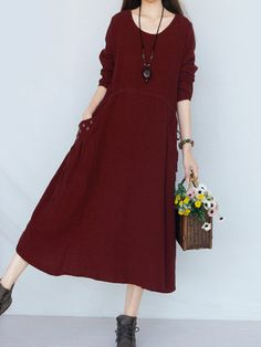 Gracila Women Vintage Pocket Embroidered Long Sleeve Maxi Dresses Shopping Online - NewChic Mobile.
