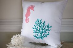 Beach Decor Seahorse and Coral Embroidered by ByTheSeashoreDecor, $64.00