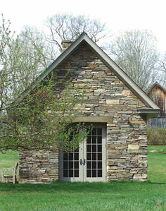 stone garden shed ~ Via Henhurst.blogspot.com. This would be perfect if I live at Downton Abbey