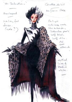 """Top 10 Designers: Anthony Powell I think Anthony has done an incredible job portraying the character of Cruella in a single rendering. Everything from the colors to the form itself screams """"Cruella de Vil"""". Theatre Costumes, Movie Costumes, Disney Villains, Disney Pixar, Costume Design Sketch, Cruella Deville, Mode Inspiration, Disney Style, Fashion Sketches"""