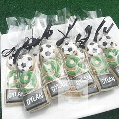 We had fun over the weekend styling Dylan's Soccer themed party? check out his mini cookie packs? all graphics designed by Soccer Birthday Parties, Football Birthday, Soccer Party, 10th Birthday, Sports Party Favors, Birthday Ideas, Soccer Cookies, Soccer Snacks, Soccer Cake