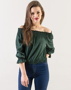 7869dd91d60 Green Wanda Olive Off Shoulder Casual Top Online Shopping