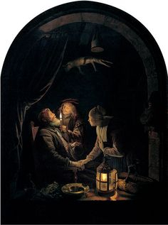 'Dentist by Candlelight', oil on oak panel painting by Gerrit Dou circa 1660-65