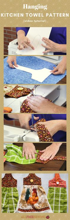 Hanging Kitchen Towel Pattern Check out this awesome hanging dish towel tutorial on AllFreeSewing! Small Sewing Projects, Sewing Projects For Beginners, Sewing Hacks, Sewing Tutorials, Sewing Tips, Sewing Ideas, Sewing Basics, Dish Towel Crafts, Dish Towels