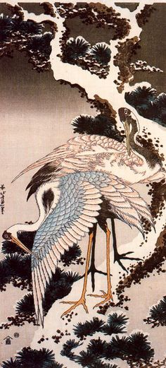 "amazing Japanese artwork: Katsushika Hokusai, ""Crane on a snowy pine""1832-1833  #travelcompanion"