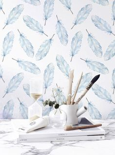 Boho decal, Feather temporary wallpaper, Aztec wall decal, Peel & Stick wallpaper, BW073