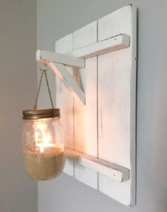Rustic wooden candle holder, distressed wood candle holder, mason jar decor, distressed wood sconce by WoodKnotGamble on Etsy