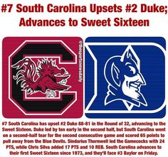 Congrats to the South Carolina Gamecocks! Now on to the #SweetSixteen
