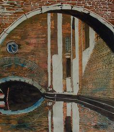 """chiesa s maurizio - rio del santissimo 14"""" x 12"""" venice micheal zarowsky / watercolour on arches paper - available 450.00"""