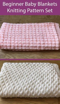 Beginner Knitting Patterns for Simple Pretty Squares and Diagonal Bubbles Baby Blankets - Easy blankets that only use knit and purl stitches. The squares blanke looks like a 6 row repeat and the bubbles blanket looks like an 8 row repeat. Both finished blanket Size; 33 x 36 inches (86cm x 92cm). Designed by Vivienne Jackson who says the patterns are suitable for beginners. Beginner Knitting Patterns, Knitting For Beginners, Easy Blanket Knitting Patterns, Free Baby Blanket Patterns, Baby Hats Knitting, Knitted Baby Blankets, Baby Girl Blankets, Start Knitting, Easy Knitting