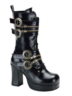 Black-Lace-Up-Steampunk-Boot