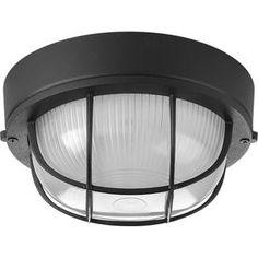 Progress Lighting Bulkheads 7.875-In W Black Outdoor Flush Mount Light P3709-31